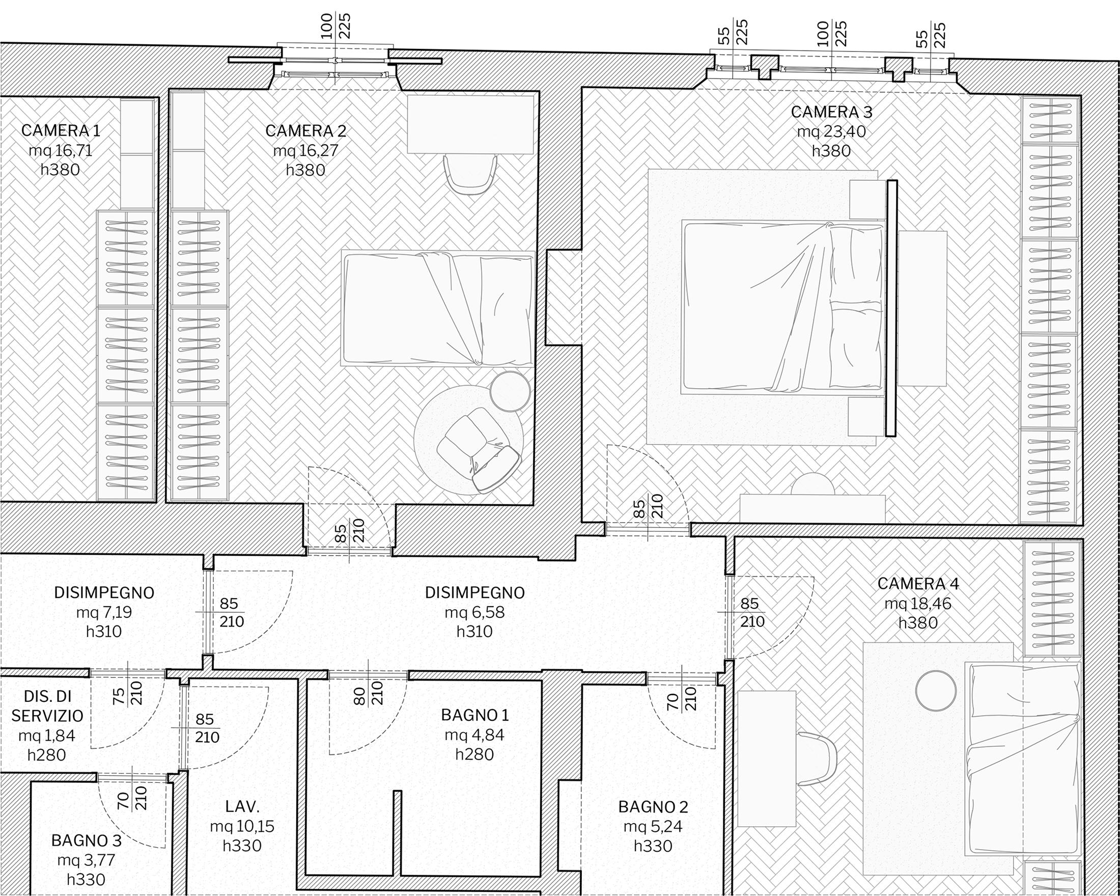 Appartamento in Milano, Magenta - Real Estate - camera - planimetria