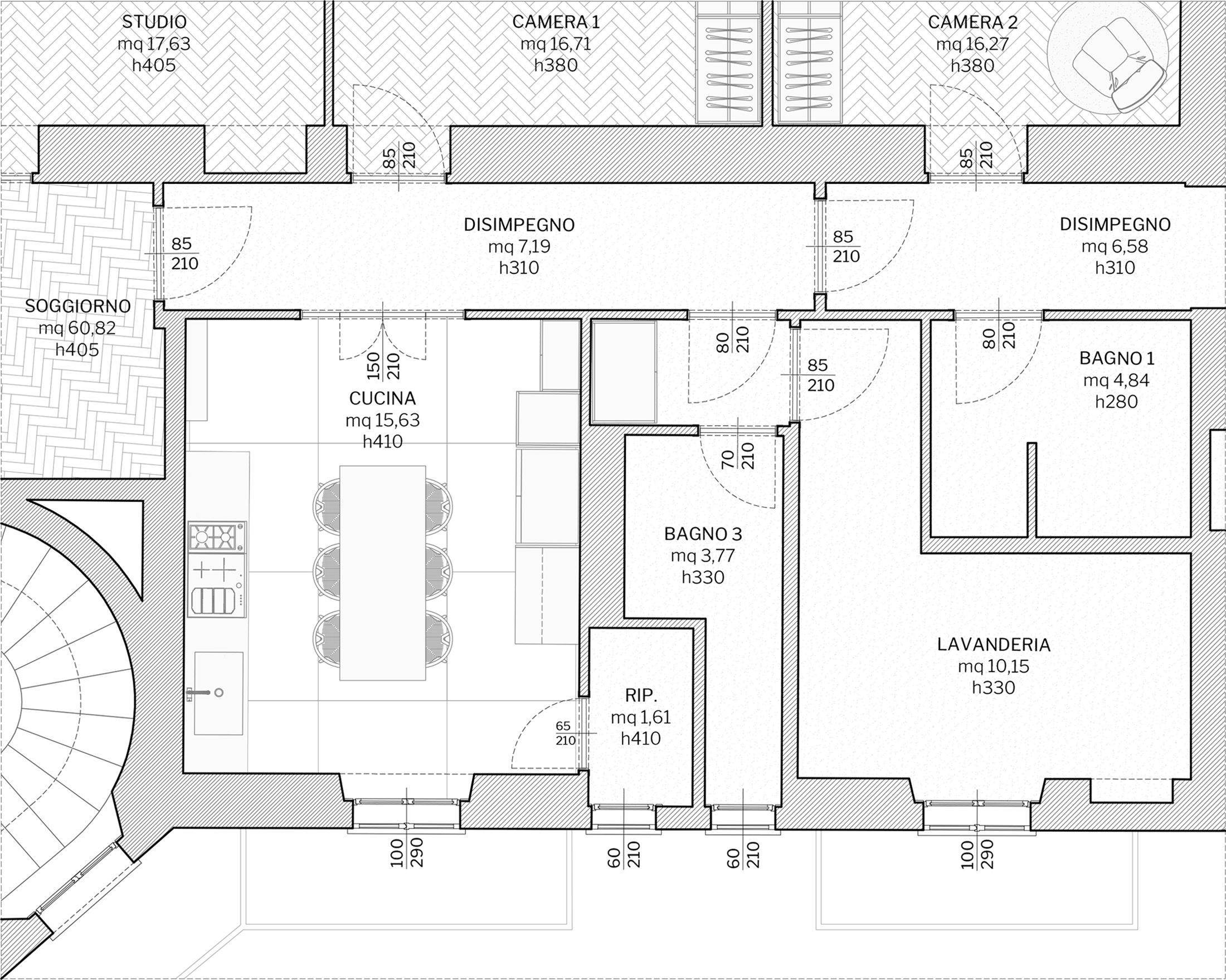 Appartamento in Milano, Magenta - Real Estate - cucina - planimetria