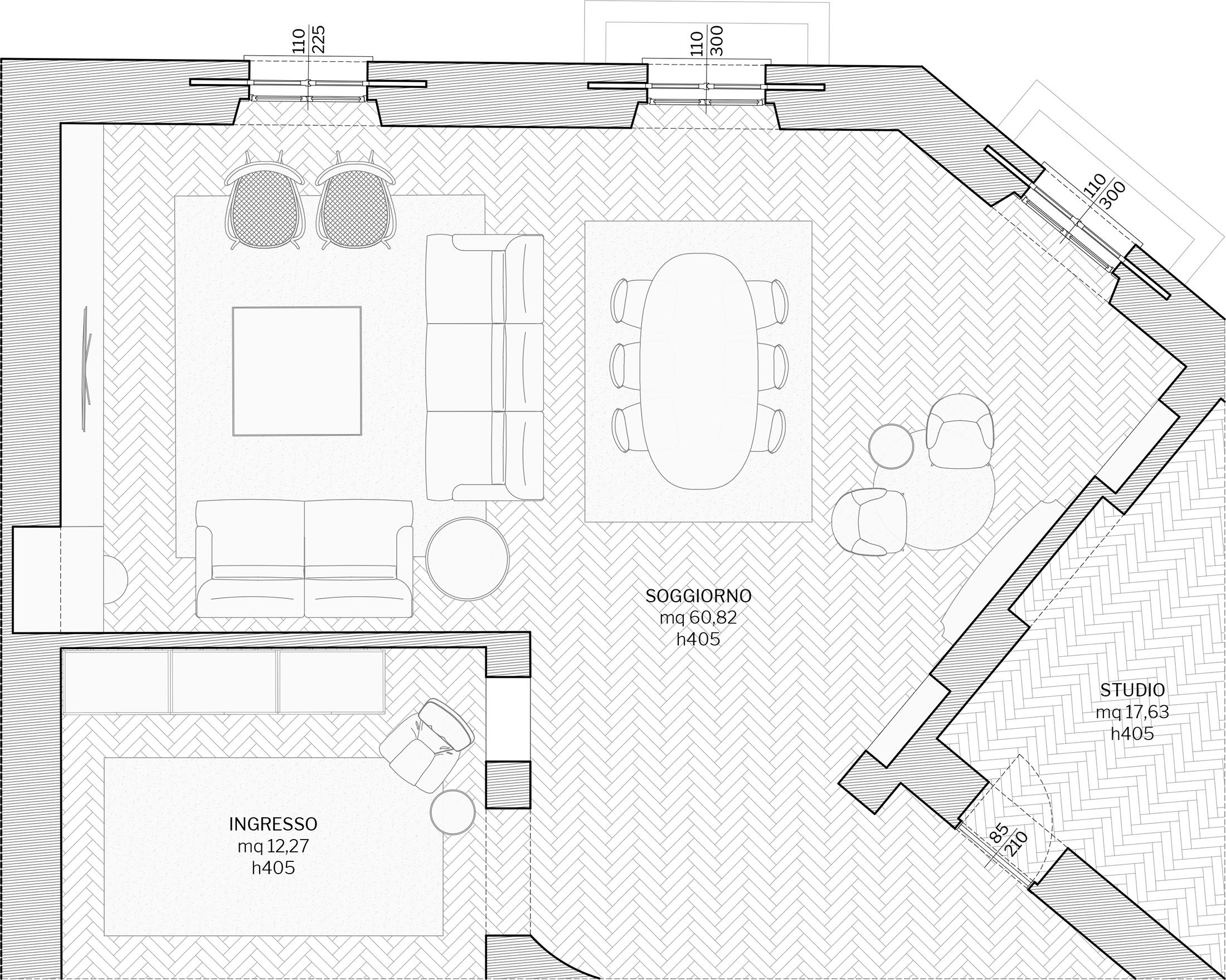 Appartamento in Milano, Magenta - Real Estate - soggiorno - planimetria