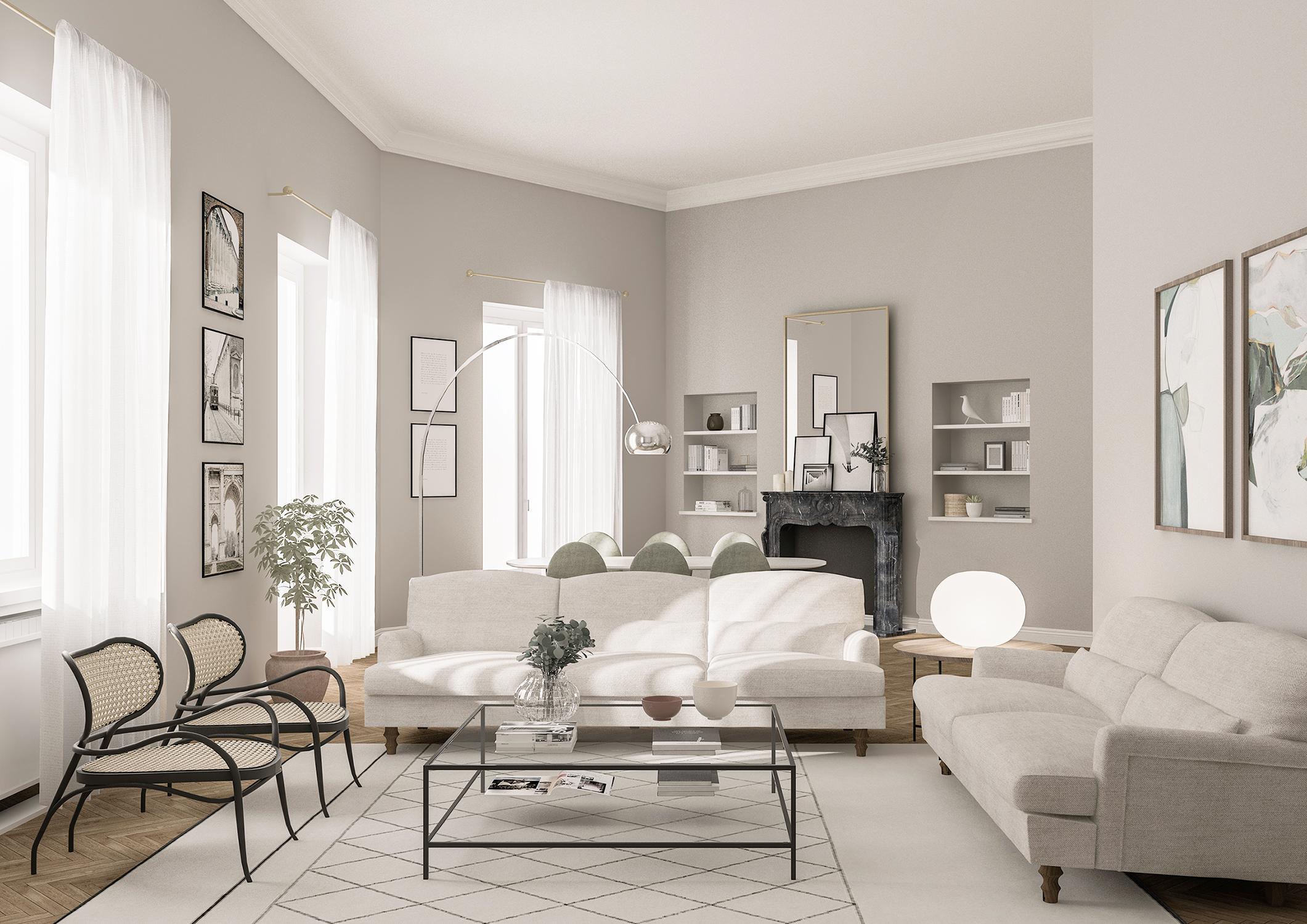 Appartamento in Milano, Magenta - Real Estate - soggiorno - render