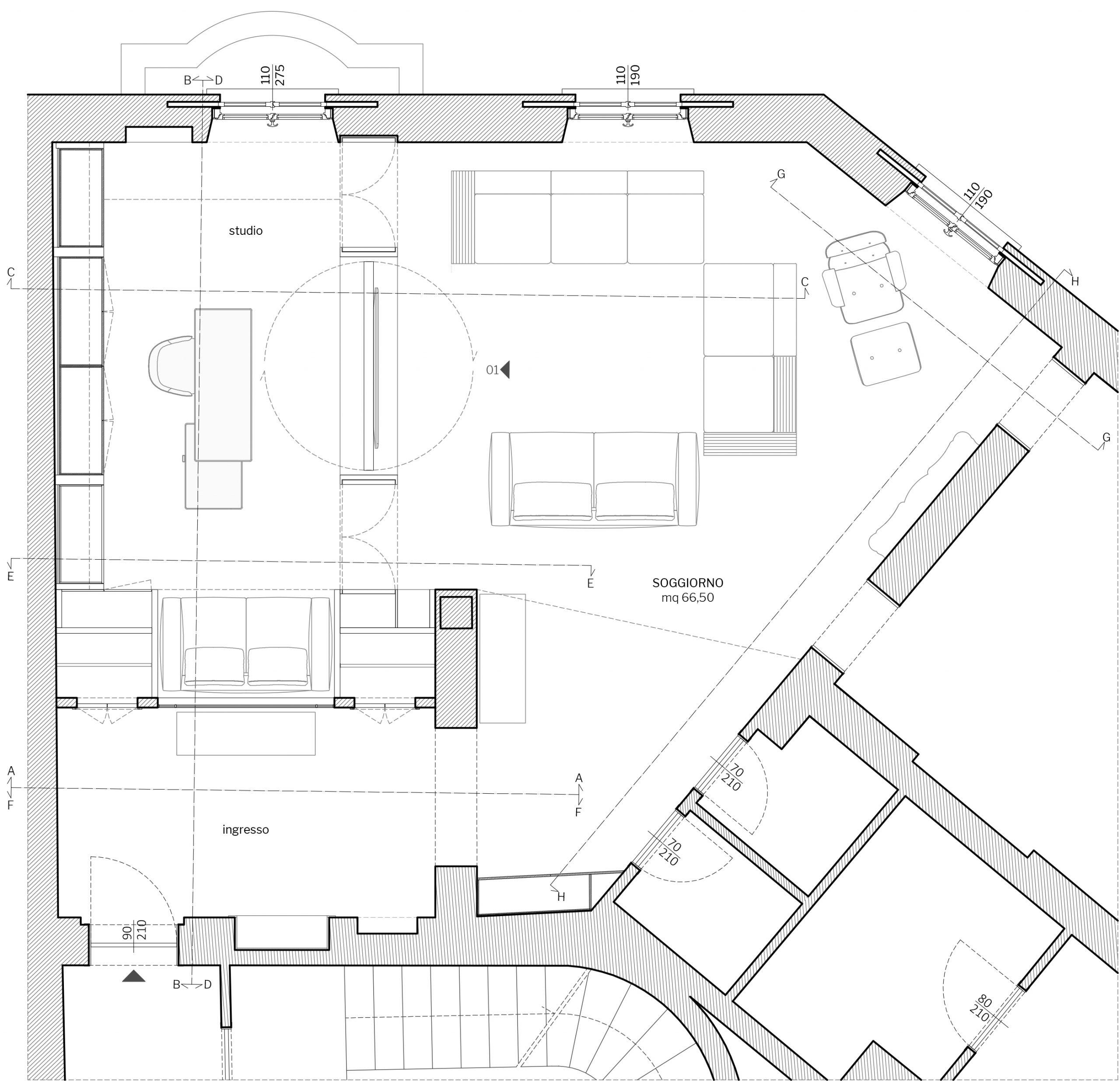 Appartamento in Milano, Magenta - planimetria di progetto