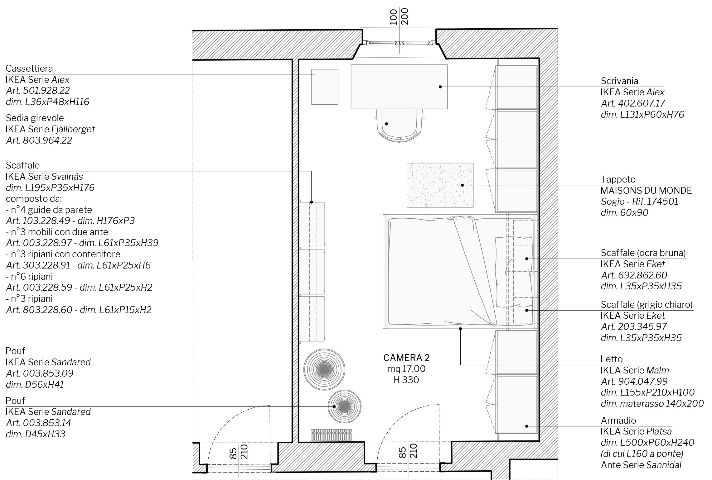 Appartamento in Cernusco sul Naviglio - camera figlio - planimetria