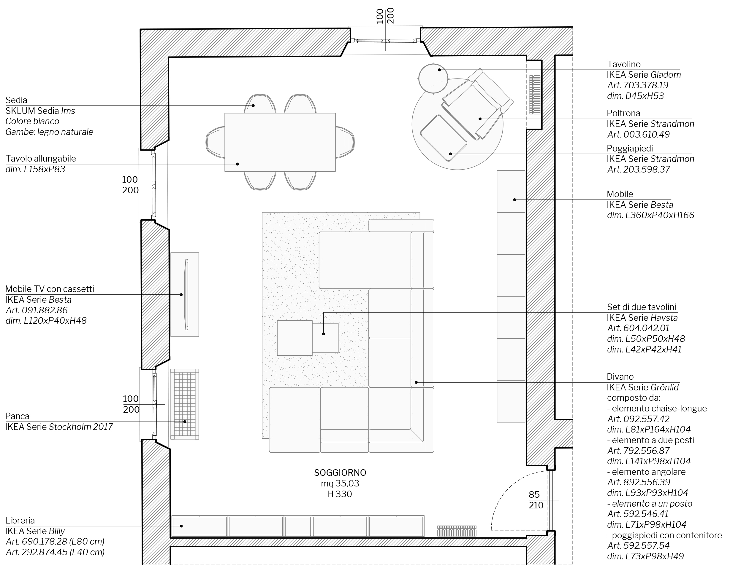 Appartamento in Cernusco sul Naviglio - soggiorno - planimetria