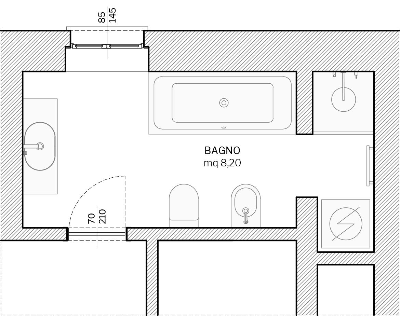Villa in Sestri Levante - ambiente bagno - planimetria stato di fatto