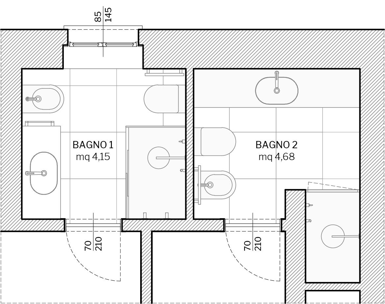 Villa in Sestri Levante - ambiente bagno - planimetria di progetto